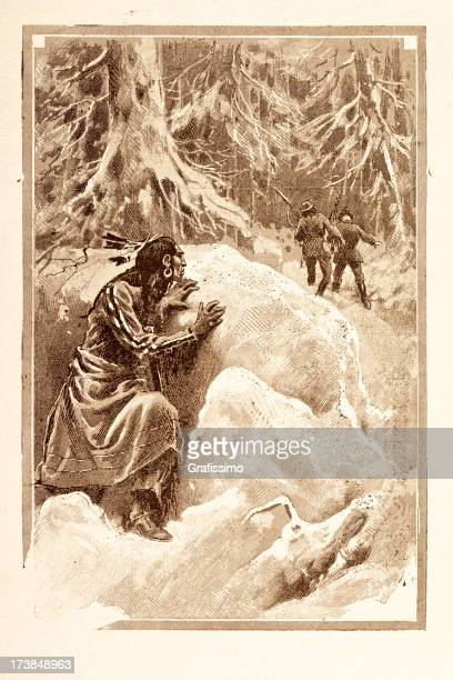 engraving of native american lying in ambush 1881 - indian costume stock illustrations, clip art, cartoons, & icons