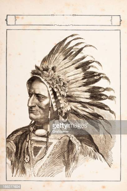 engraving of native american tribal chief sitting bull 1881 - indian costume stock illustrations, clip art, cartoons, & icons