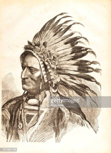 engraving of native american tribal chief sitting bull 1881 - indigenous north american culture stock illustrations, clip art, cartoons, & icons