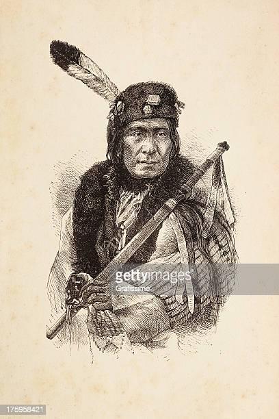 illustrations, cliparts, dessins animés et icônes de gravure de amérindien chef avec calumet - apache