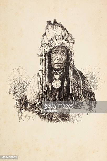 engraving of native american tribal chief with headdress - indigenous north american culture stock illustrations, clip art, cartoons, & icons