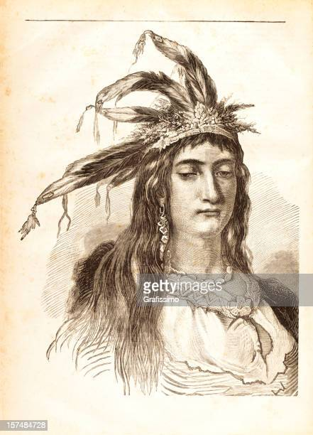 engraving of native american woman from 1881 - cherokee culture stock illustrations, clip art, cartoons, & icons