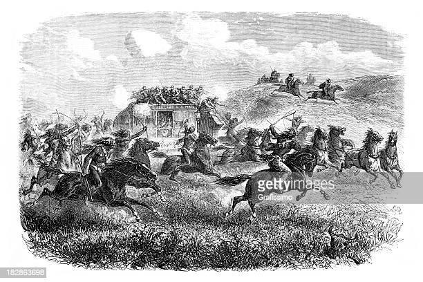 ilustraciones, imágenes clip art, dibujos animados e iconos de stock de grabado de indios americanos que atacan stagecoach 1868 - indios americanos sioux