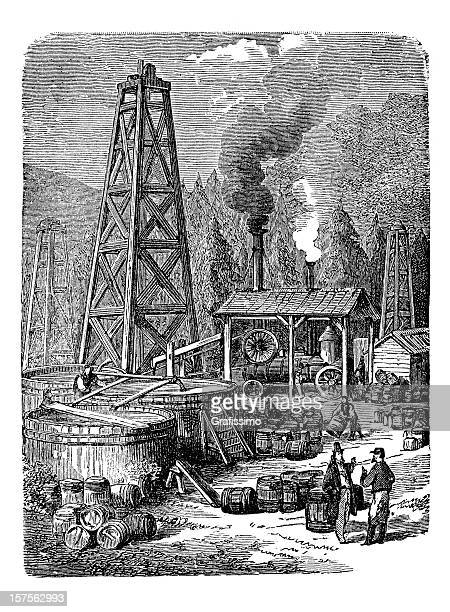 engraving of oil rig in united states 1882 - oil pump stock illustrations, clip art, cartoons, & icons