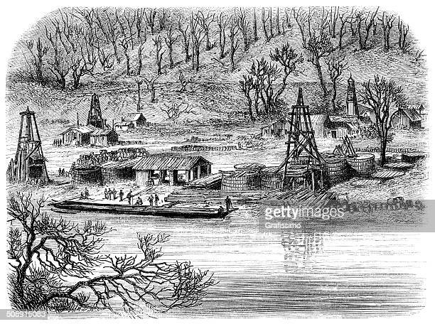 engraving of oil rigs in philladelphia pennsylvania united state - oil pump stock illustrations, clip art, cartoons, & icons