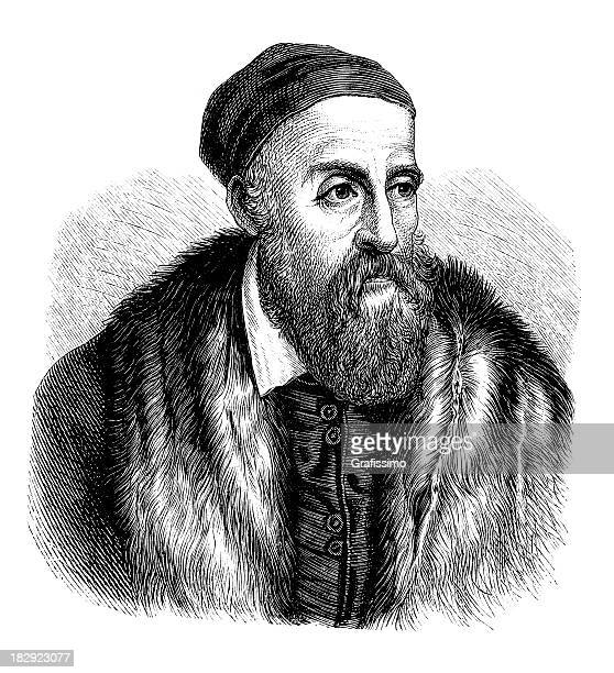 engraving of painter titian from 1870 - tiziano vecellio stock illustrations, clip art, cartoons, & icons