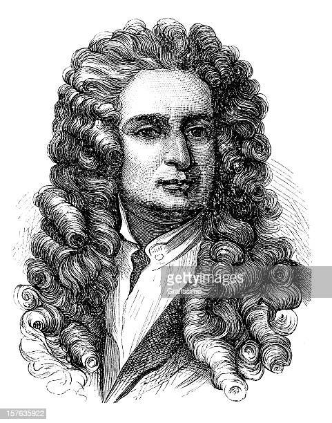 engraving of physicist isaac newton from 1870 - physicist stock illustrations, clip art, cartoons, & icons