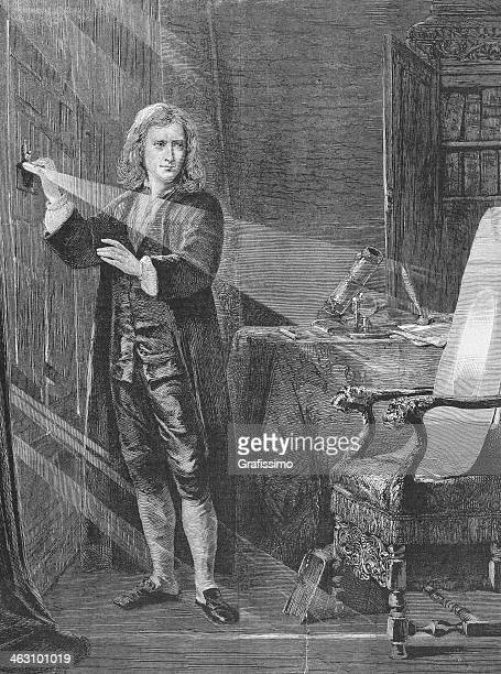 engraving of physicist isaac newton from 1881 - physicist stock illustrations, clip art, cartoons, & icons