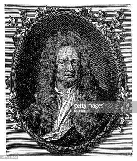 engraving of physicist isaac newton - physicist stock illustrations, clip art, cartoons, & icons