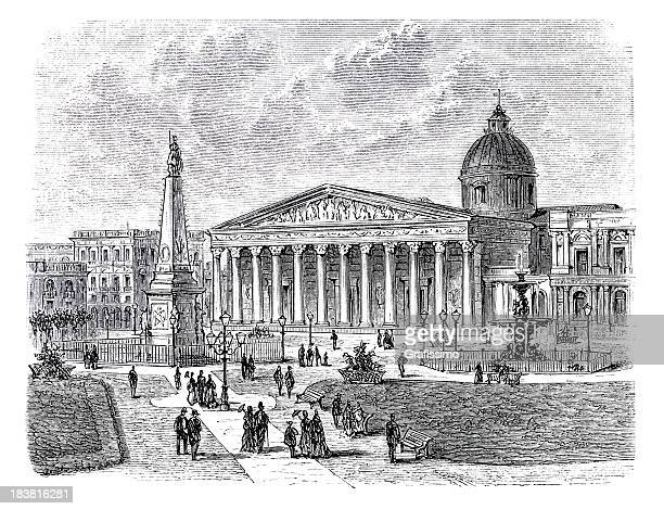 Engraving of Plaza de Mayo in Buenos Aires Argentina 1870
