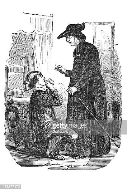 engraving of priest blessing a sinner - forgiveness stock illustrations, clip art, cartoons, & icons