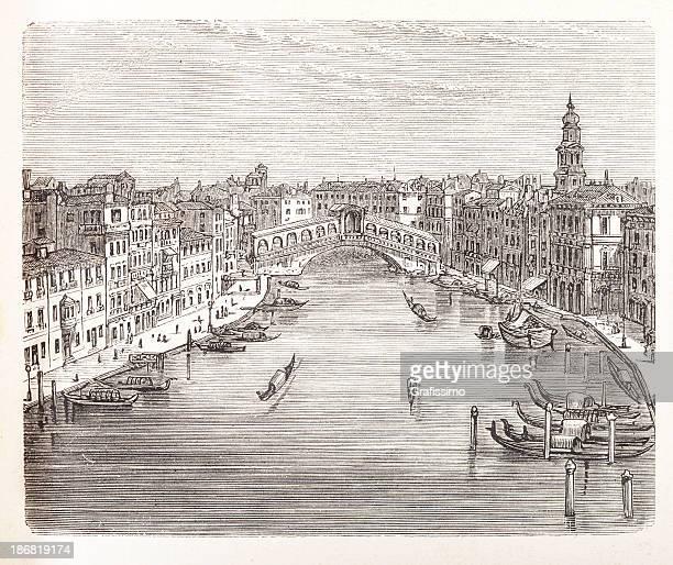 engraving of rialto bridge over canal grande in venice, italy - venice italy stock illustrations, clip art, cartoons, & icons