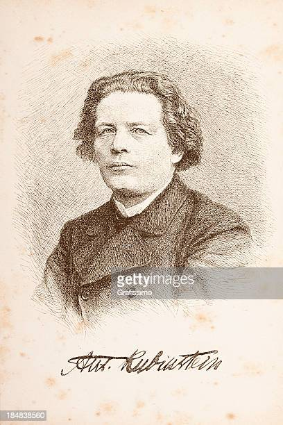Engraving of russian composer Anton Rubinstein from 1882