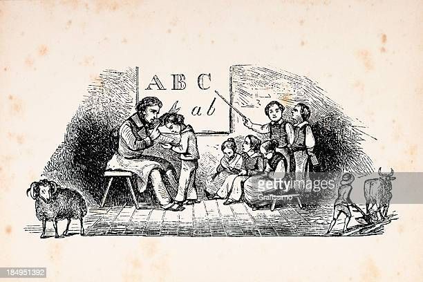 Engraving of school teacher and pupils in classroom from 1853
