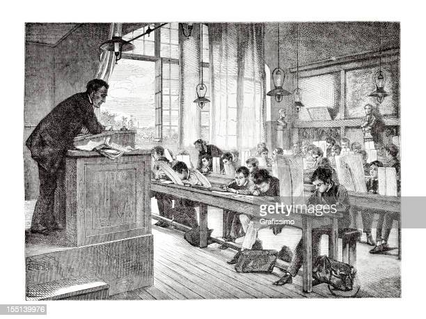 Engraving of school teacher and pupils in classroom from 1875
