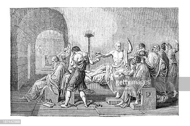 ilustraciones, imágenes clip art, dibujos animados e iconos de stock de grabado de sócrates muerte - filosofos griegos