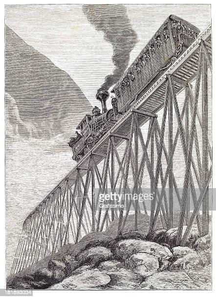 engraving of steam train at mount washington 1879 - 1870 1879 stock illustrations