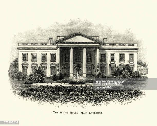 engraving of the white house, washington, usa, 19th century - white house washington dc stock illustrations, clip art, cartoons, & icons