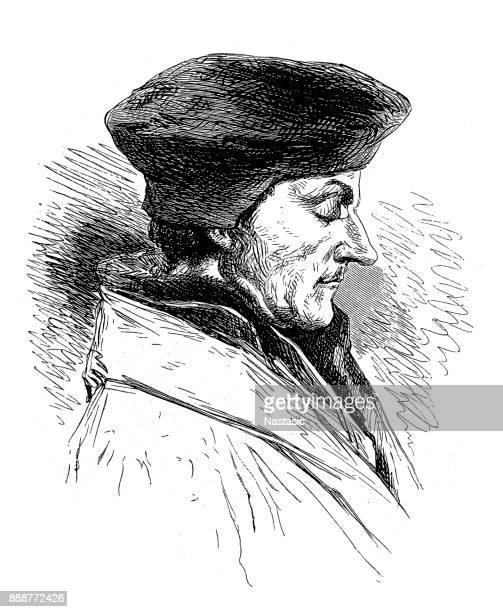 Engraving of theologian Desiderius Erasmus from Rotterdam