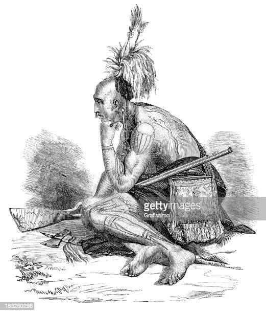 engraving of thoughtful native american iroquois from 1870 - indian costume stock illustrations, clip art, cartoons, & icons