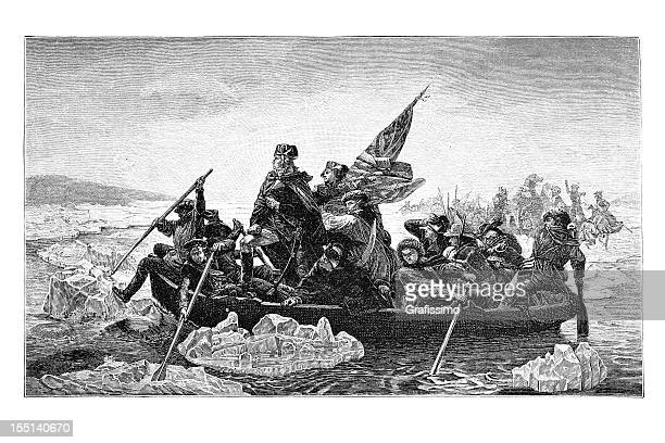 Engraving of US president George Washington crossing river Delaware 1882
