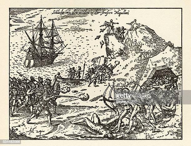 Engraving of Van Noort Fighting the Native Indians, 1599