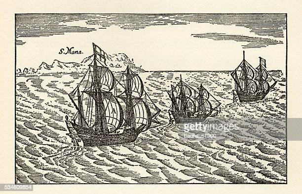 engraving of van noort sailing the strait of magellan, 1600 - 17th century stock illustrations, clip art, cartoons, & icons