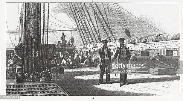 Engraving: Officers on Middle Deck