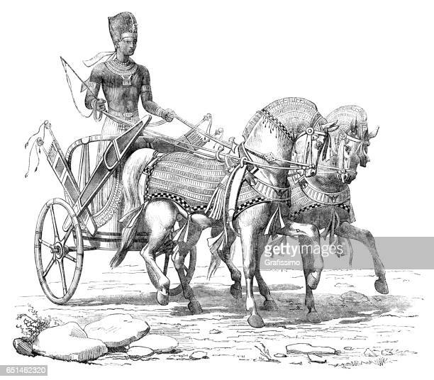 engraving pharaoh on chariot at procession 1868 - egypt stock illustrations