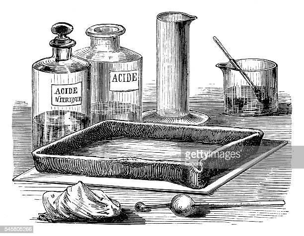 engraving plate treatment - acid stock illustrations