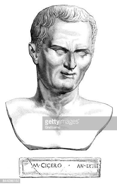 Engraving portrait of roman politician Cicero 1883