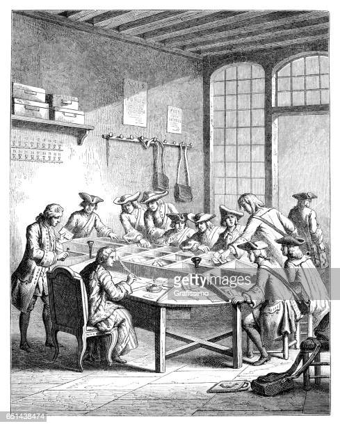 engraving post office 16th century louis xv - post office stock illustrations, clip art, cartoons, & icons