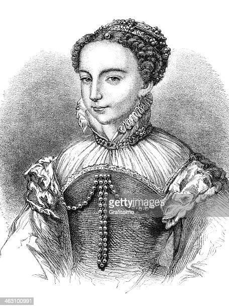 彫り込みの女王マリア stuart 1842 - スコットランド メアリー女王点のイラスト素材/クリップアート素材/マンガ素材/アイコン素材