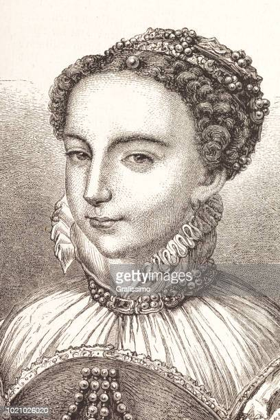 engraving queen maria stuart of scots 15th century - 16th century style stock illustrations