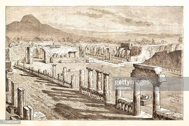 Engraving ruines of Pompeii Italy 1881