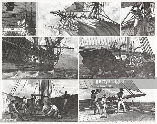 Engraving: Sailors on Deck Duty