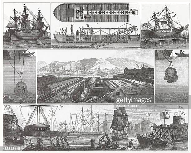 Engraving: Ships in Dry Dock and in Port