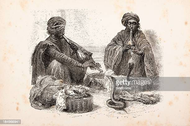 Gravação Encantador de Serpentes na Índia de 1873