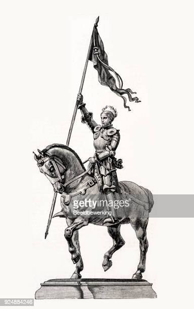 engraving st. joan of arc  on horseback with flag - st. joan of arc stock illustrations