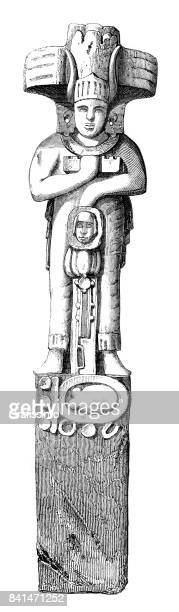 Engraving statue of aztec goddess in Palenque Mexico 1859