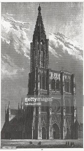 engraving: strasbourg cathedral - spire stock illustrations, clip art, cartoons, & icons