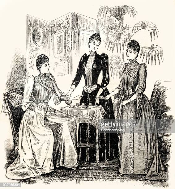 Engraving three ladies in reception dress