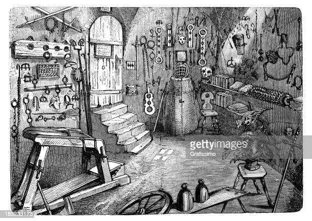 engraving torture chamber in nuremberg from 1870 - torture stock illustrations