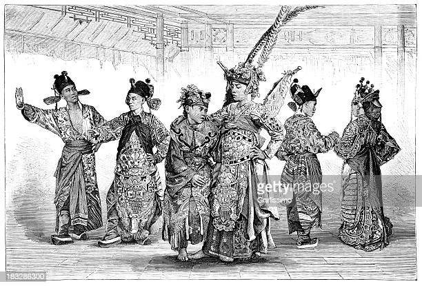 Engraving traditional dancers Beijing China from 1870