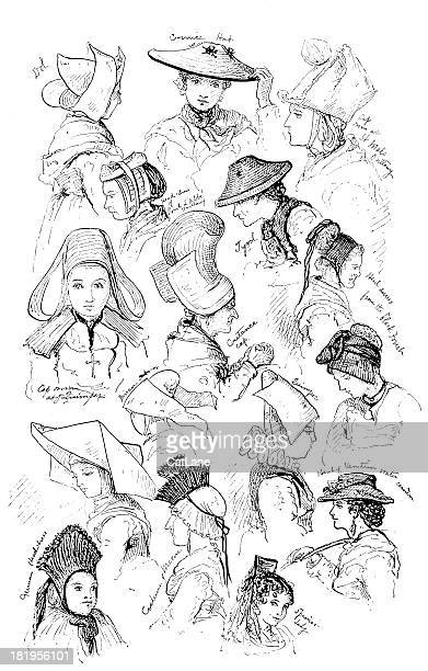 Engraving: Variety of Women's Headwear