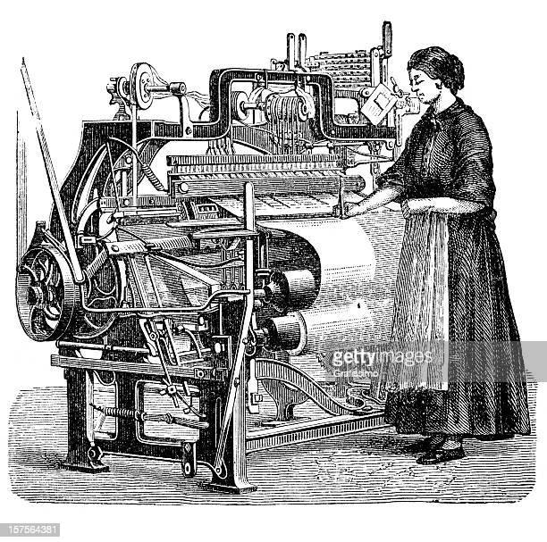 Engraving woman weaving cloth on power loom 1882