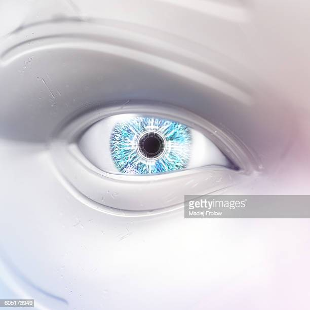 enhanced human eye - robot stock illustrations