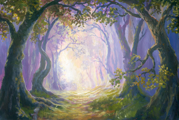 enigmatic forest, oil painting - fantasy stock illustrations