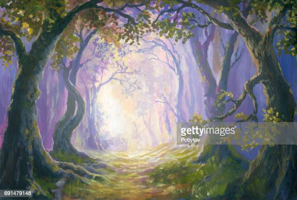 Enigmatic forest, oil painting