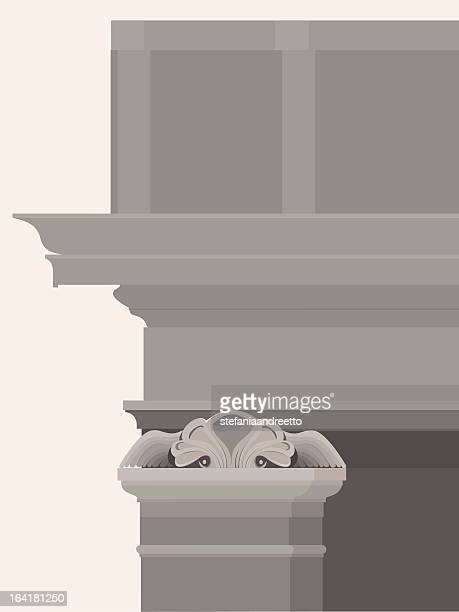 entablature with columns, capitals and moldings - marble rock stock illustrations, clip art, cartoons, & icons